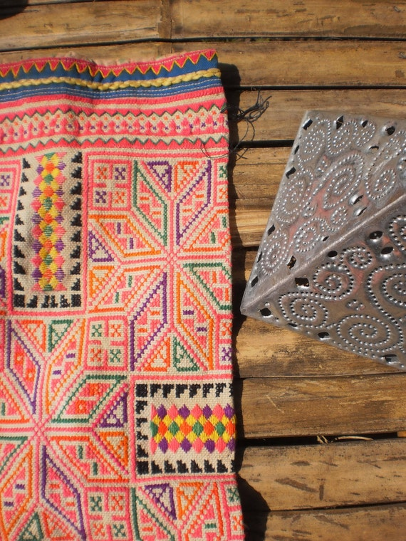 Embroided Tribal Textile Panel By The Hmong Hilltribe People