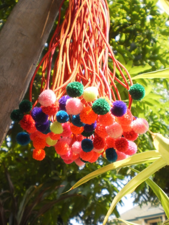 Pompom String From Lisu Hilltribe 84 Strings With PomPom
