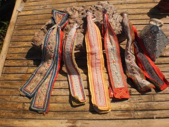 Hmong Tribal Textile Straps 10 Straps (5 pair)