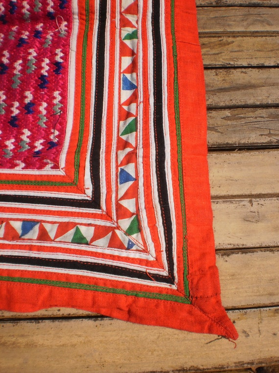Vintage Hmong Old Fabric Embroided Tribal  Piece