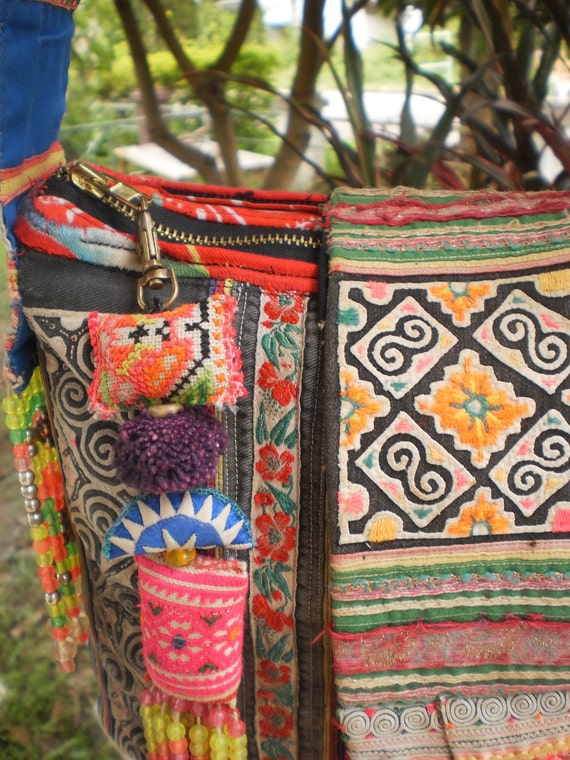 Vintage Hmong Tribal  SPiRaL Bag Made With Upcycled Hmong  Hilltribe Textile