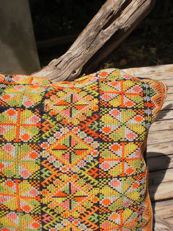 Yao Hilltribe Vintage Upcycled HandMade Cushion Cover Made From Yao Vintage Textile