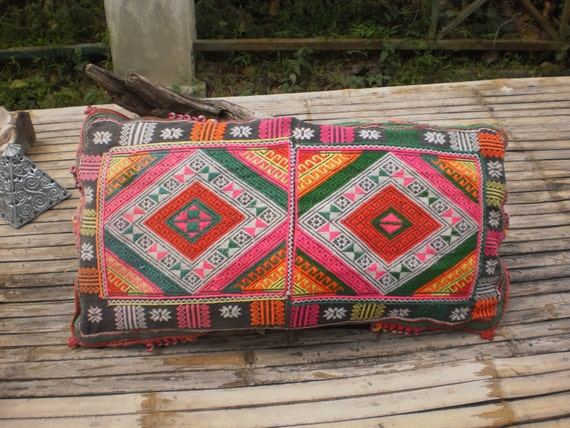 Hmong Hilltribe Vintage Upcycled HandMade Cushion Cover Made From Black Hmong Vintage Textile