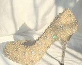Make to order hand sewing pearl shoes light gold for party wedding or prom