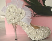 Make to order hand sewing pearl shoes ivory