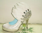 Handmade white crystal feather shoes wedding party shoes