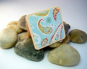 Mini Cards or Gift Tags - Light Blue and Red Paisley