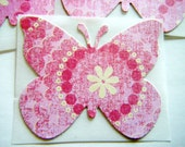 Large Butterfly Stickers - pink dots