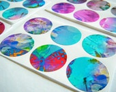 Art Stickers - envelope seals set of 30 - Butterfly Wings - turquoise, pink, red