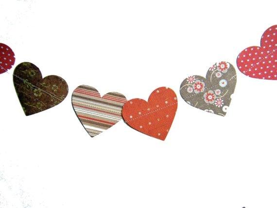 Valentine's Heart Paper Garland  -  brown, red, pink