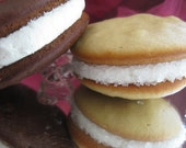 Chocolate and Vanilla Whoopie pies (six of each)