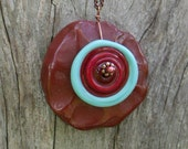 Large Hammered Red Jasper, Glass Lampwork Disc and Copper Pendant Necklace