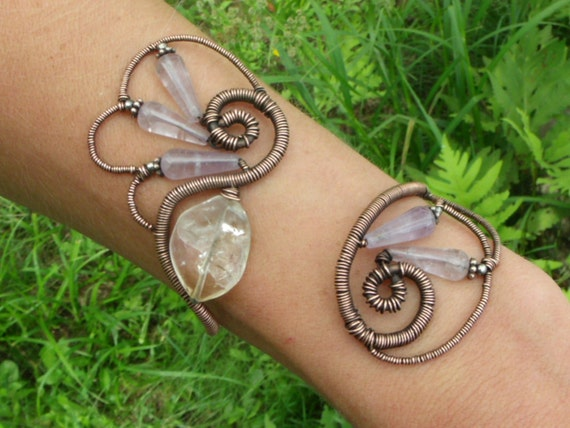 HUGE SALE 35% OFF - Wings of a Butterfly - Wire Wrapped Copper Cuff with Cape Amethyst and Citrine - free shipping