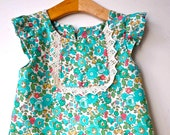Green Betsy Liberty fabric with lace detail spring/summer dress with free matching hairclip for baby, toddler girl, handmade In London