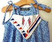 OOAK Wimbledon/ Olympic Liberty print dress red white blue Vintage Union Jack Flag handkerchief & hairclip girls 4/5yrs, handmade In London