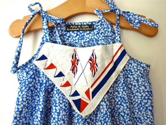 OOAK Wimbledon/ Olympic Liberty print dress red white blue Vintage Union Jack Flag handkerchief & hairclip girls 4/5yrs, handmade In London