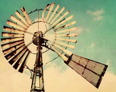 Vintage Windmill Fine Art Photography Home Decor Wall Art Modern Shabby Chic Country Rustic Vintage Aqua Sky Meta