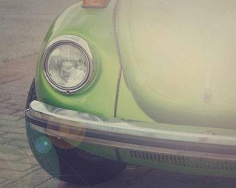 VW Bug Photo, Vintage Volkswagon Photography, Retro Lime Green Hippie Car Picture, Dorm Bedroom Office Livingroom Print, Home Decor Wall Art