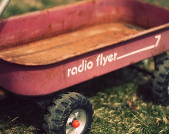 Radio Flyer Photo, Little Red Wagon Picture, Vintage Toy Photography,  Boy Bedroom Nursery Baby Toy Room Playroom Child Home Decor Wall Art