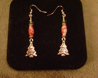 Dangle Christmas tree charm earrings, just right for the holidays