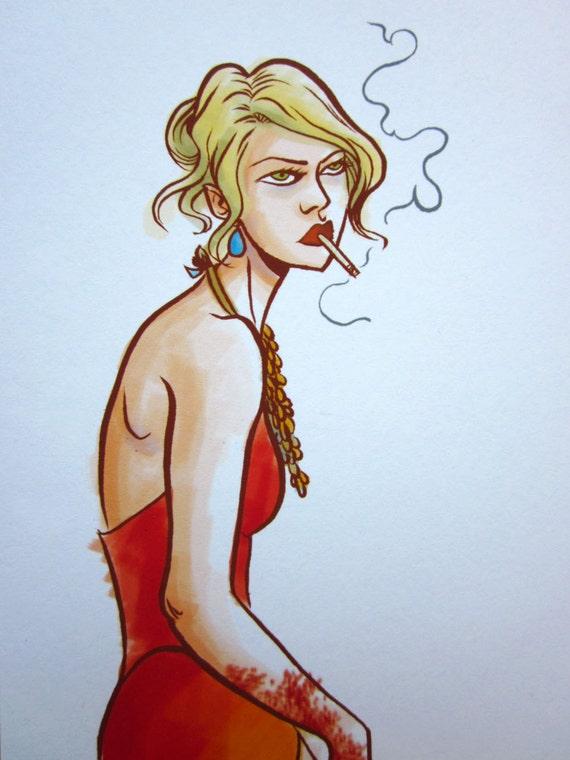 Lounging Female Assassin Illustration Art Print