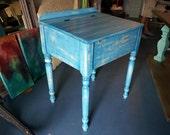 Vintage Blue Distressed Schoolhouse Desk