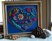 Felted Heart with Objects 8x9 Framed Picture
