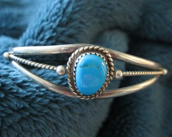 JUST REDUCED PRICE -Native American turquoise bracelet, sterling silver,