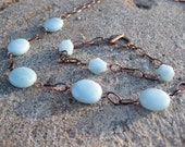 Pretty Blue Green and Bronze Chain Necklace and Bracelet Set