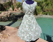 "Vintage 1950s 50s dress sundress fitted full M/L 32"" waist cotton pinup bombshell forest print"