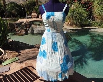 Vintage 1960s dress sundress 60s Hawaiian smocked shelf bra bombshell pinup aqua turquoise S/M