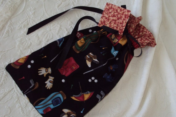Golf Shoe Bags--Set of Two--Draw string bags with gift tag--use for shoes, socks, lingerie--great gift bags