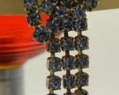 Baby blue rhinestone dangle vintage earrings silver - VogelHausVintage