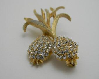 Vintage Pineapple Rhinestone Brooch