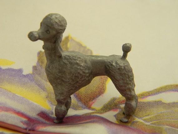 Vintage French poodle figurine silver pot metal