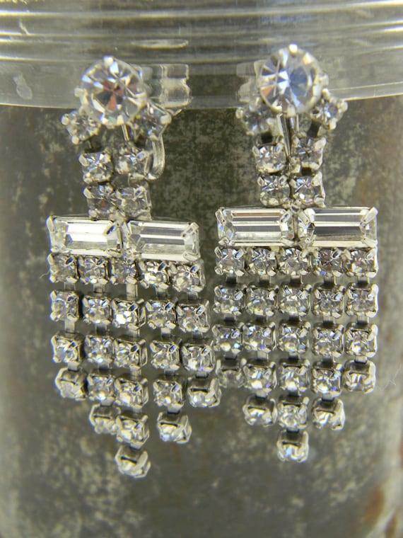 Elegant Art Deco drop rhinestone earrings prong set