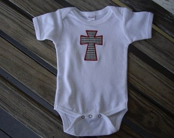 Infant Baby Boy Girl Newborn Bodysuit  Applique Embroidery Houndstooth Cross Alabama Roll Tide