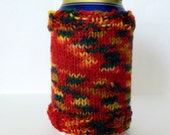 SALE Beer Soda Can Cozy - hand knit, red, blue, green, yellow