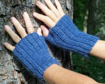 Hand Knit Fingerless Mittens, Fingerless Gloves, Blue Wool Gauntlets, Mens Fingerless Gloves, Knit Hand Warmers, Womens Fingerless Mittens