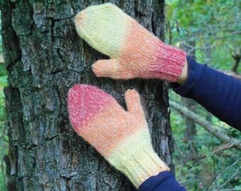 Wool Mittens, Hand Knit Mittens,  Orange, Yellow Mittens, Wool Gloves, Adult Mittens, Knit Mittens, Warm Mittens, Striped Mittens
