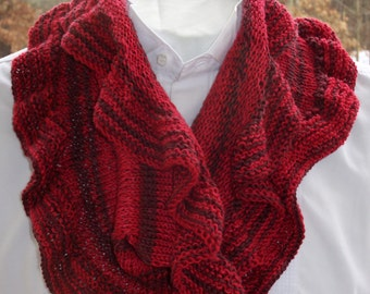 Knitted Cowl Scarf, Red Ruffled Scarf, Neck Scarf, Hand Knit, Red Cowl, Ruffled Cowl, Fashion Accessory, All Weather Cowl, Circular Scarf