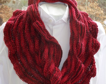 Red Ruffled Cowl, Women's Fashion Scarf, Knit Cowl Scarf, Circle Scarf, Red Cowl, Fashion Cowl, Knitted Cowl Scarf, Mother's Day Gift