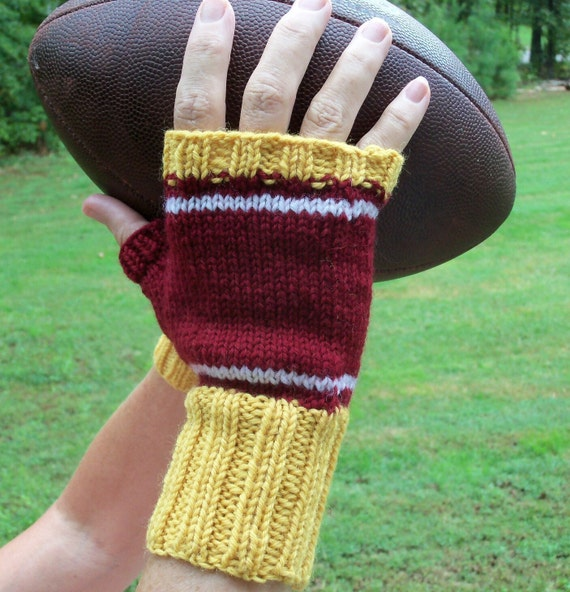 Fingerless Mittens - hand knit in maroon, gold & white