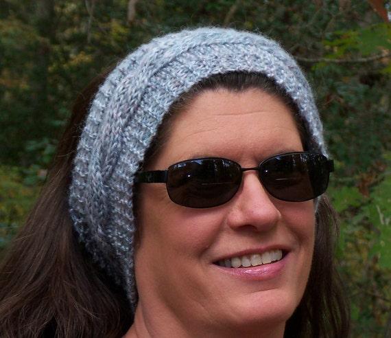 Ear Warmer Head Wrap, hand knit, gray, white, cables