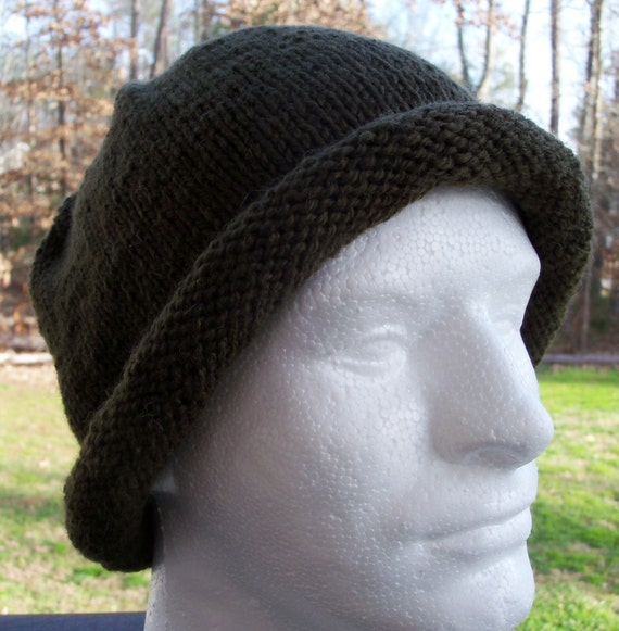CLEARANCE Rolled Brim Hat - knit, dark olive, wool