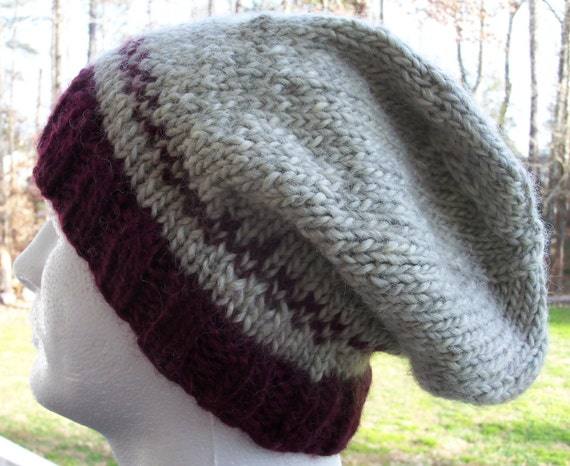 Slouch Hat, Hand Knit Slouchy Hat,  Warm Winter Hat, Heavy Wool Slouchy Hat, Ski Hat, Maroon and Gray, Unisex Winter Hat, Warm Toque
