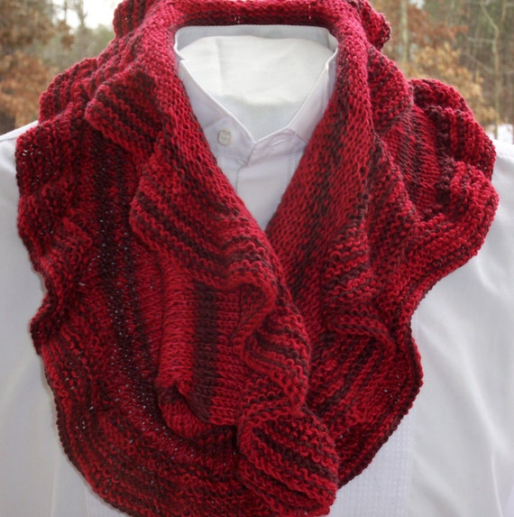 Knitted Cowl Scarf Red Ruffled Scarf Neck Scarf Hand Knit