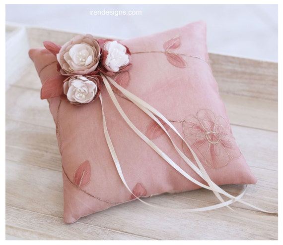 Ring Pillow. Pale Chestnut Handmade Wedding Ring Pillow With Fabric Handmade Flowers
