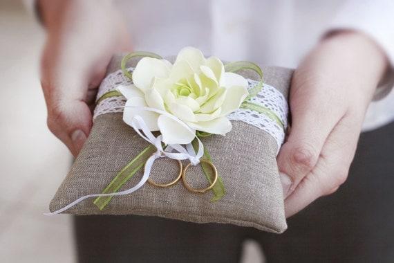 Rustic Ring Pillow. Linen Handmade Wedding Ring Pillow with Flower.