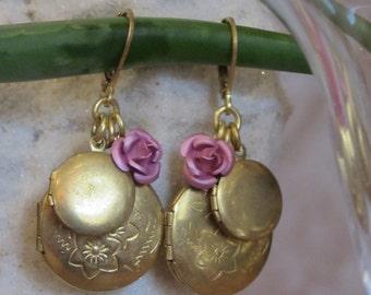 Love Like Lockets Earring Blush/ Raw Gold Locket Earrings